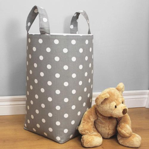 polka dot grey and white soft nursery hamper with tan teddy bearr