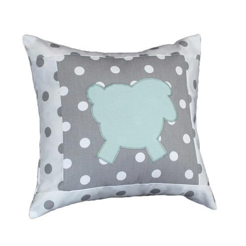 polka dot grey and white decor pillow with applique lamb