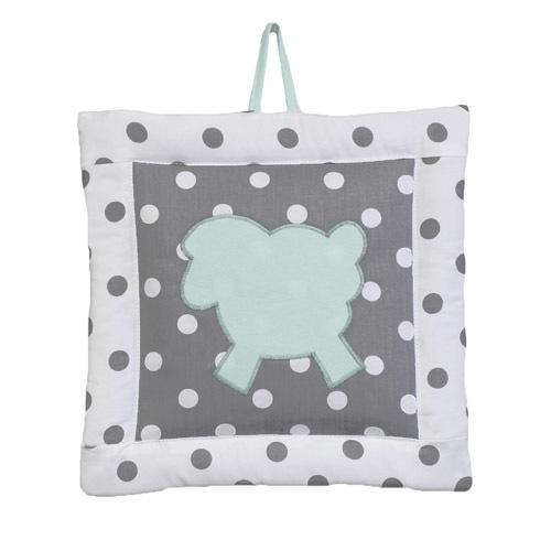 polka dot grey and white lamb wall art