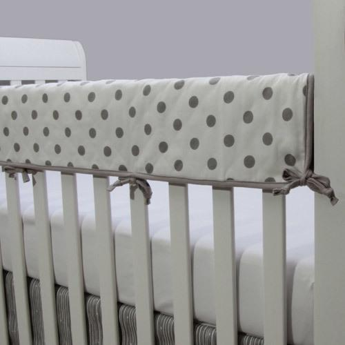 polka dot grey and white rail protector on white crib