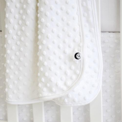 white bubble minky chenille blanket, skirt, white crib