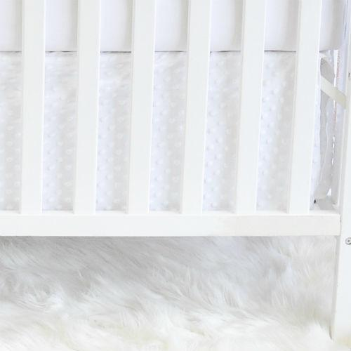 white bubble minky chenille skirt, white crib