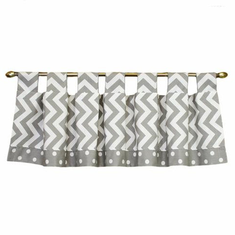 grey and white zigzag tab top valance with polka dots