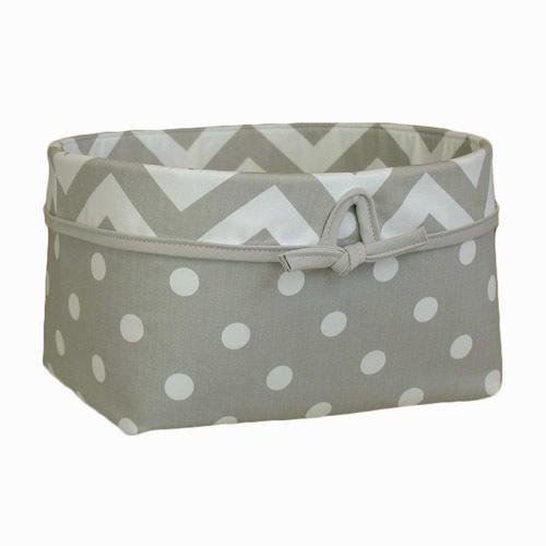 grey and white polka dot basket with zigzag