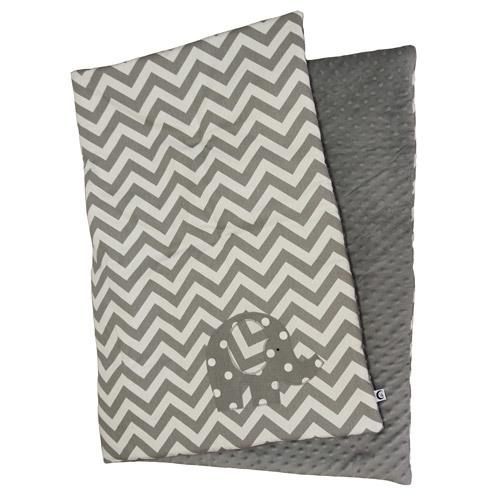 grey and white elephant applique zigzag play blanket with grey minky