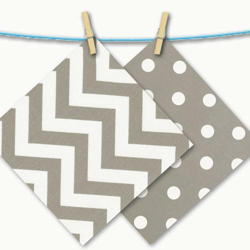 grey and white zigzag and dot free swatches on a clothesline
