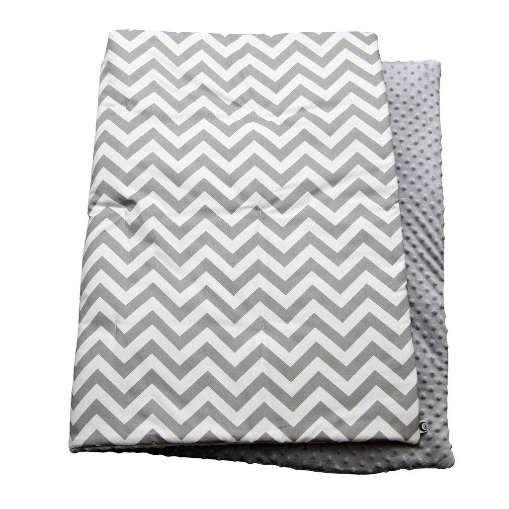 grey and white zigzag play blanket with grey minky back