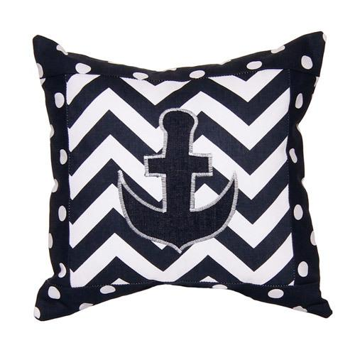 navy and white zig zag anchor pillow