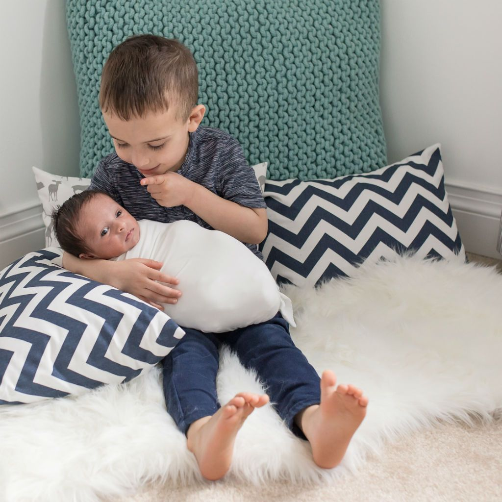 navy and white zig zag lumbar pillows with big brother and baby brother