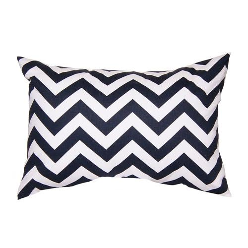 navy and white zig zag lumbar pillow