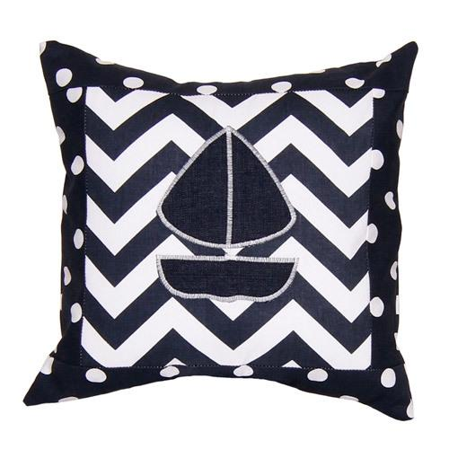 navy and white sailboat pillow