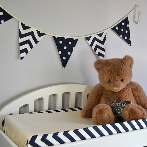 navy and white zig zag change pad cover with teddy bear add varsity flags
