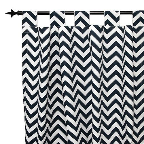 navy and white zig zag tab top drapes