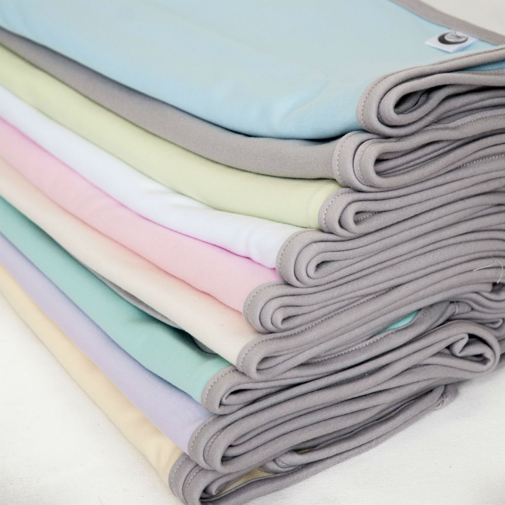 stacked swaddle blankets multiple colours with grey trim