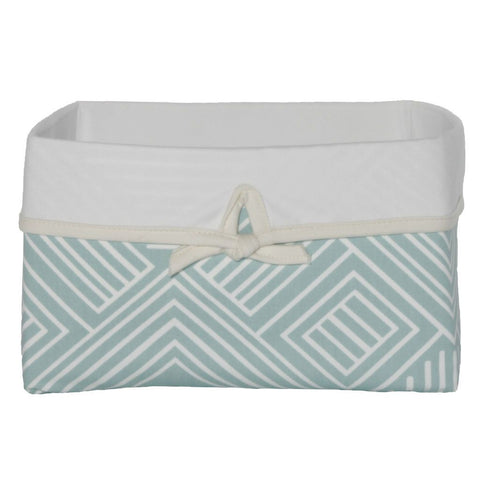 teal maze pattern basket with bow