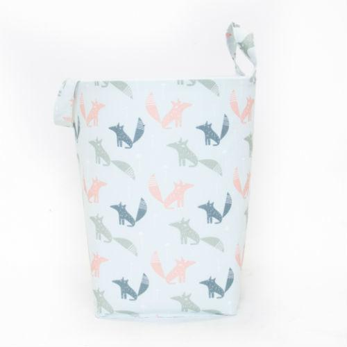 coral, dark teal and grey fox pattern hamper