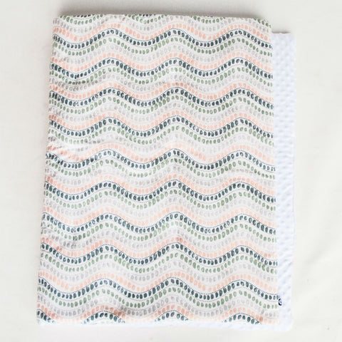 coral, dark teal and grey jewel patterned blanket