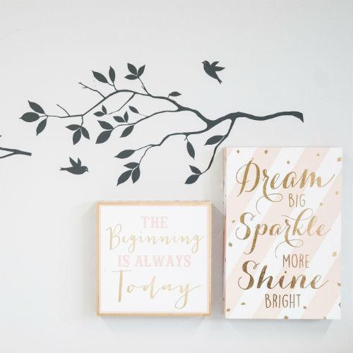 tree decal with two inspirational wall pictures