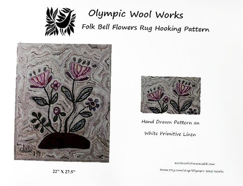 Folk Bell Flowers Rug Hooking Pattern