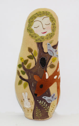 Forest Doll: A Wool Applique Digital Pattern