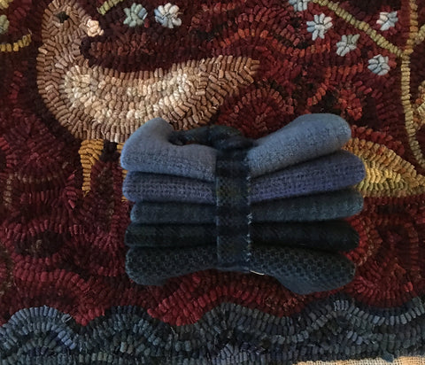 SLATE BLUE Hand-dyed Wool Bundle for Rug Hooking and Wool Applique