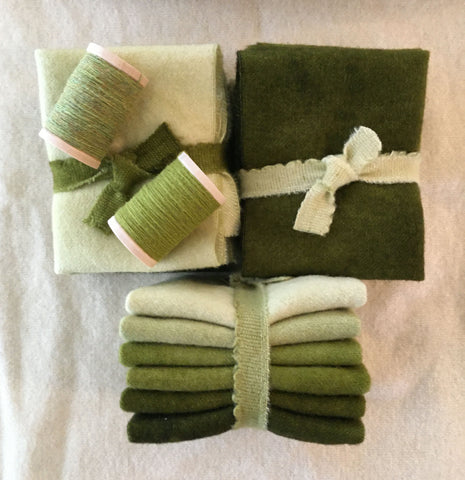 GREEN THUMB Six Pack of Hand Dyed Wool for Rug Hooking and Wool Applique