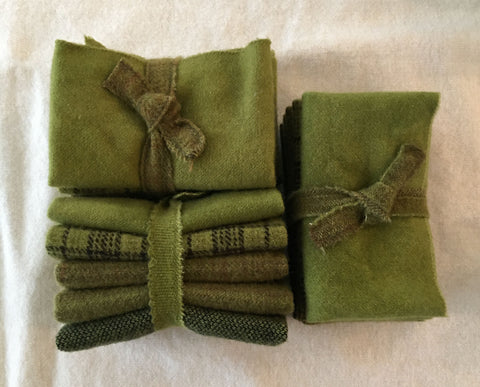 SPANISH OLIVE  Hand Dyed Wool Bundle for Rug Hooking, Rug Braiding, Wool Quilts and Wool Applique