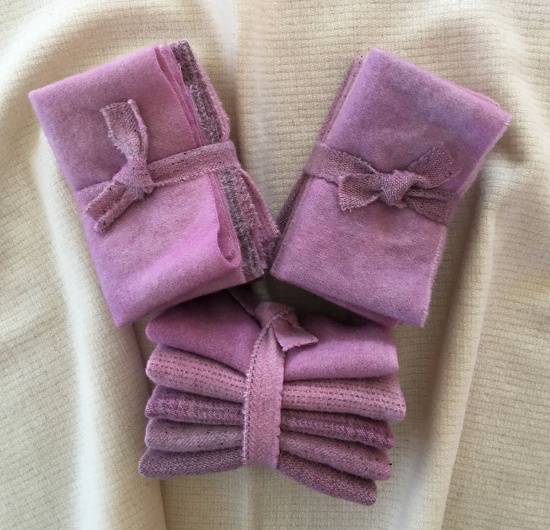 ROSE PINK Hand Dyed Wool Bundle for Rug Hooking and Wool Applique