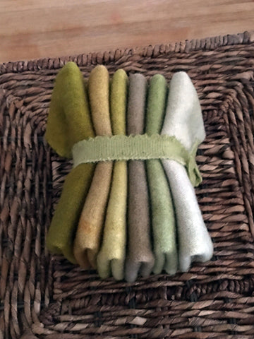 PICK A PEAR Six Pack of Hand Dyed Wool for Rug Hooking and Wool Applique