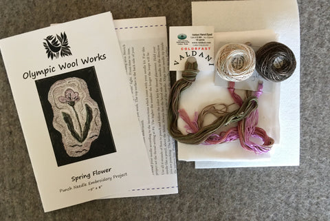 SPRING FLOWER, a Punch Needle Embroidery Wall Hanging Pattern or Kit