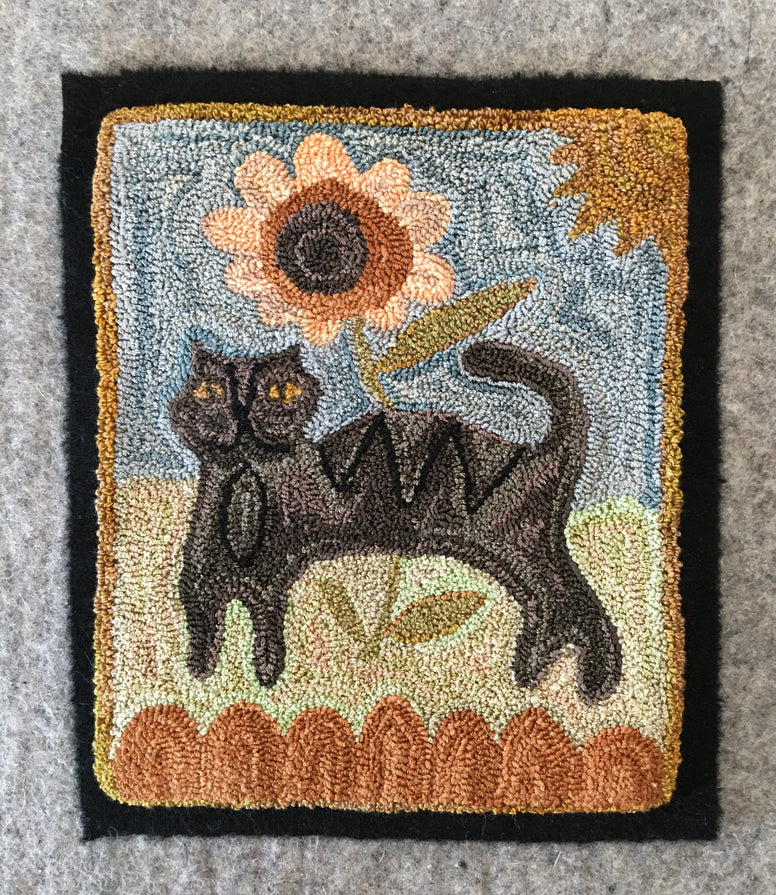 The Black Cat Punch Needle Embroidery Pattern or Kit