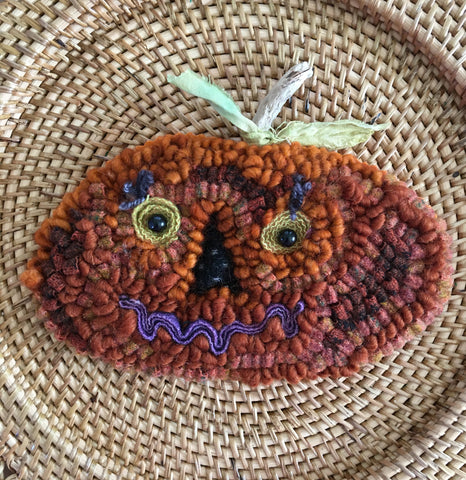 One Little Pumpkin Ornament, A Rug Hooking Kit with Hand Dyed Yarn and Wool in Size 8 Cut