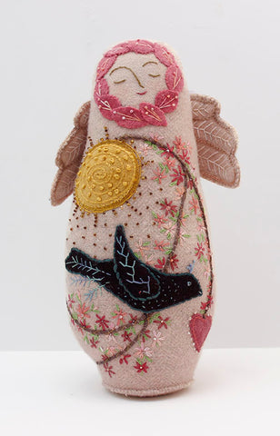 Spring Angel Wool Applique Doll Digital Pattern