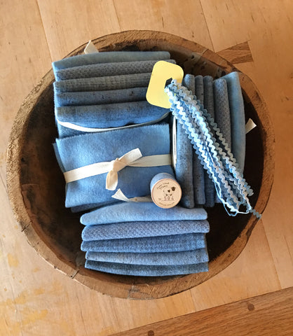 ALPINE BLUE Wool Bundle for Rug Hooking & Wool Applique