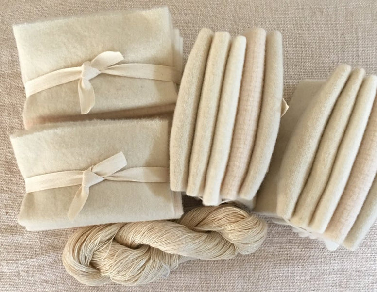 White Mix of Felted Wool for Rug Hooking, Rug Braiding, Wool Quilts and Wool Applique