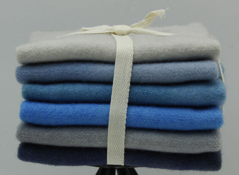 Sky: Fat Sixteenth Six Pack of Hand-dyed Wool for Rug Hooking & Applique Quilts