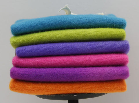 TROPICAL: Fat Sixteenth Six Pack of Hand-dyed Wool for Rug Hooking & Wool Applique