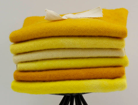 Yellow:  Fat Sixteenth Six Pack of Hand-dyed Wool for Rug Hooking & Applique Quilts