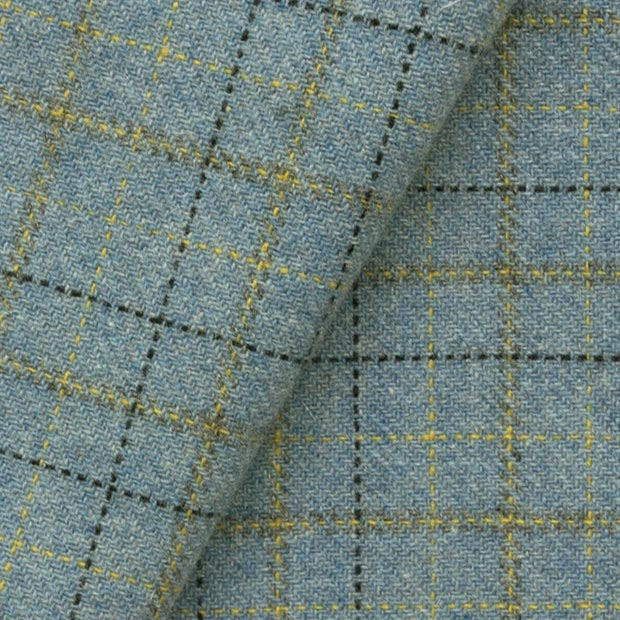 SKY BLUE Plaid: Fat Quarter Yard, Felted Wool Fabric for Rug Hooking, Wool Applique & Crafts