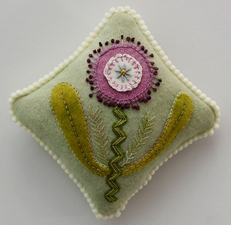 Pick Me Too, A Wool Applique Pattern for a Sachet