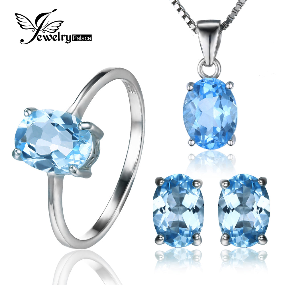 jewellery blue white gemstone image heart gold earrings topaz stud