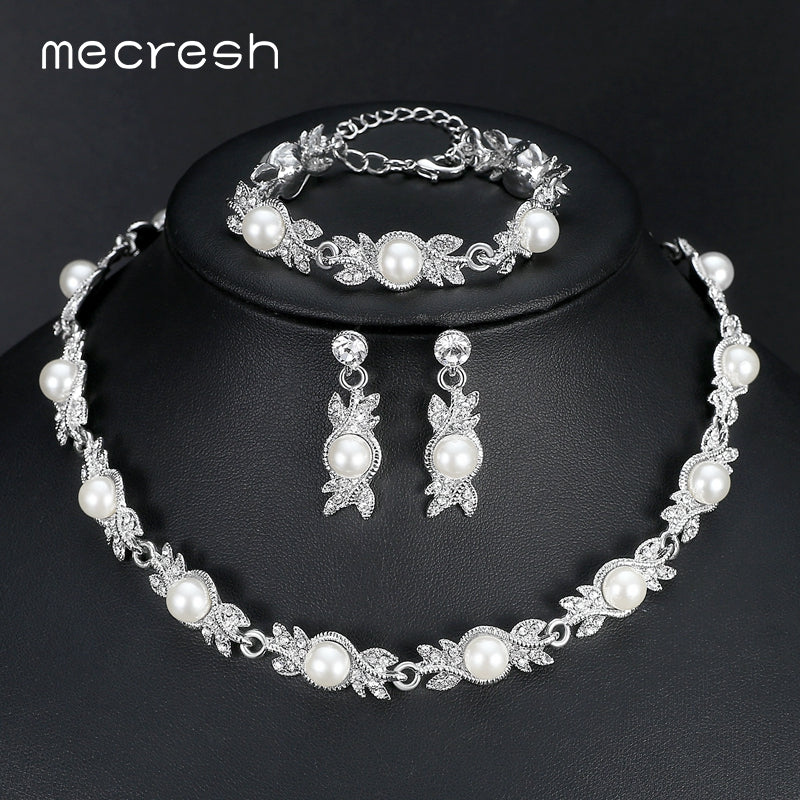 Mecresh Simulated Pearl Bridal Jewelry Sets Silver Color Wedding Necklace  Sets Engagement Jewelry Accessories MTL444+MSL197 04a511789f84