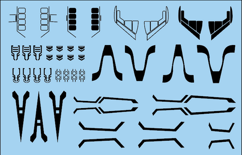 Decal - Space Fighter panels and markings - black