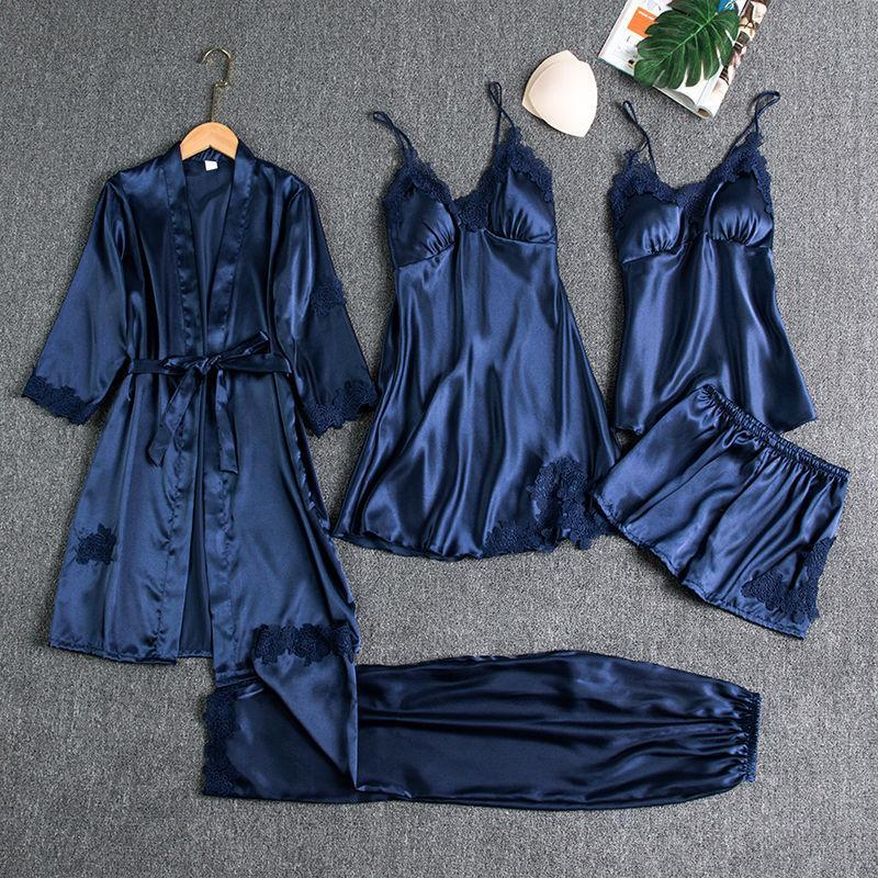 Five-piece Silk Pajamas