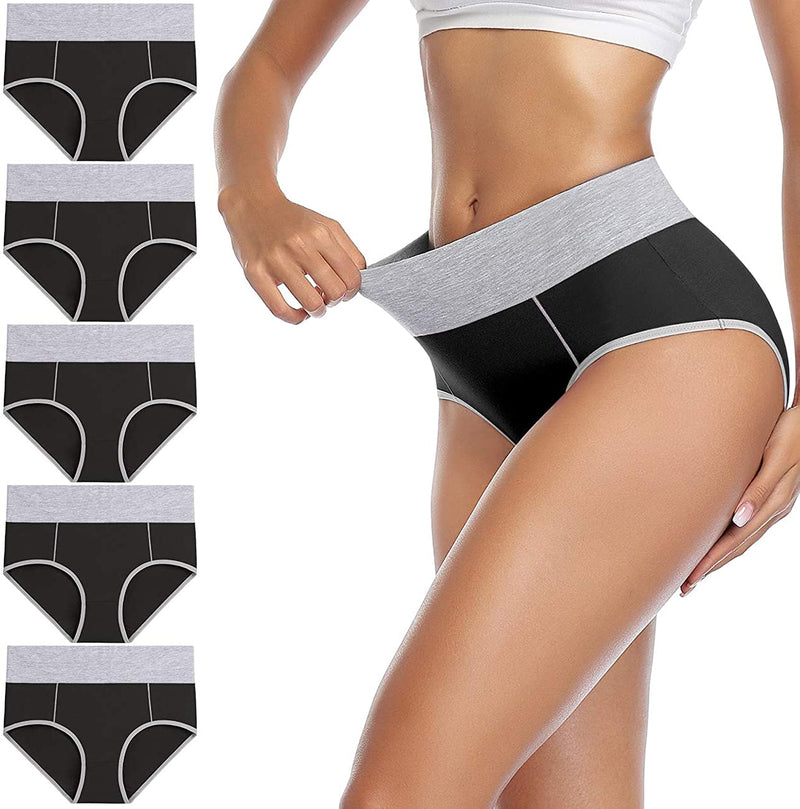 5 PCS/Set High Waist Women's Cotton Stretch Breathable Underwear