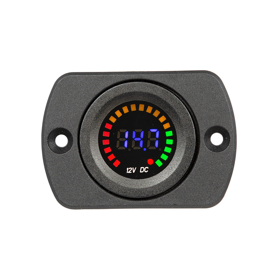 29mm Panel Mount Digital & LED 12V Meter (10.5-14.7V)
