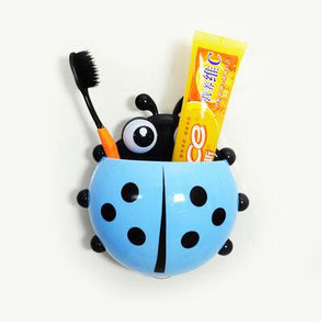 Cute Ladybug Suction Cup Wall Toothbrush and Toothpaste Holder