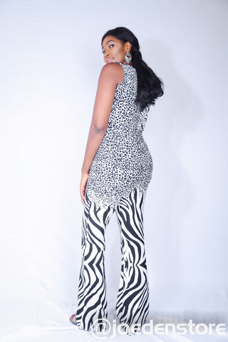 Black and White Pattern Jump Suit