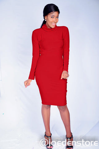 Long Sleeve Turtleneck Knee Dress - Red