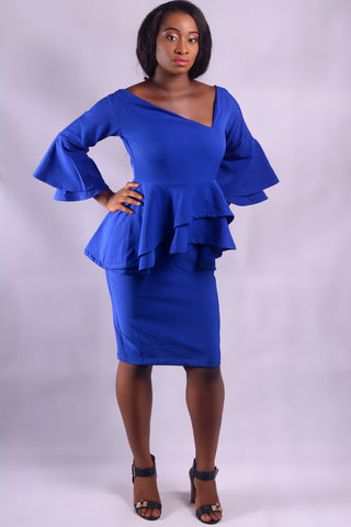 JOEDEN Asymmetric Neck Peplum Dress